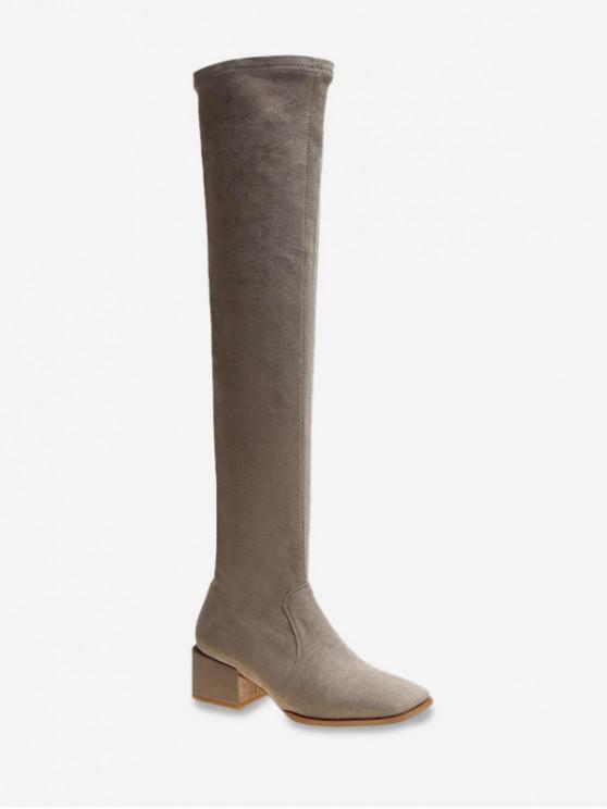 online Solid Square Toe Mid Heel Thigh High Boots - LIGHT KHAKI EU 39