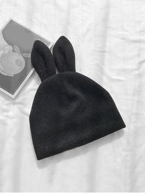 أرنب آذان الشانيل القبعة - أسود