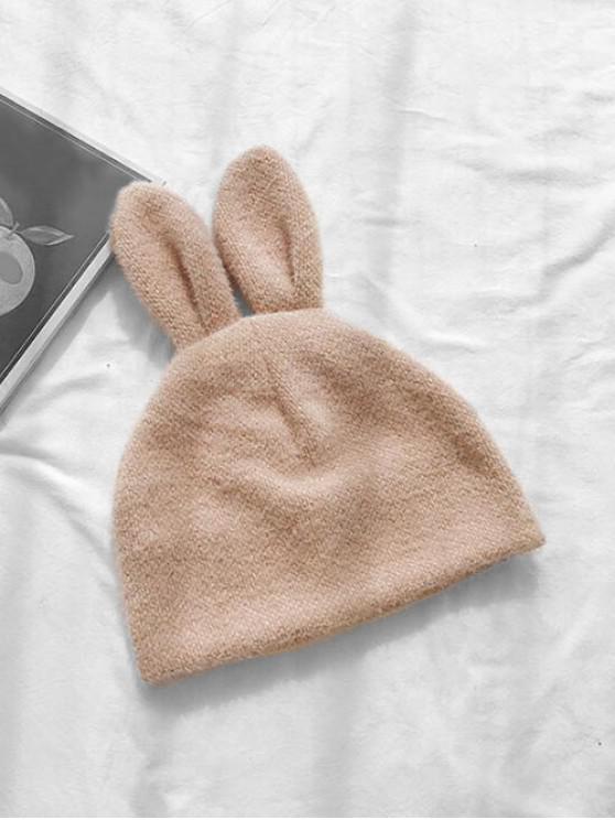 latest Rabbit Ears Chenille Knitted Hat - BEIGE