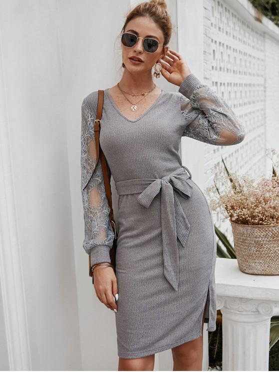 women's Lace Panel Side Slits Belted Dress - GRAY L