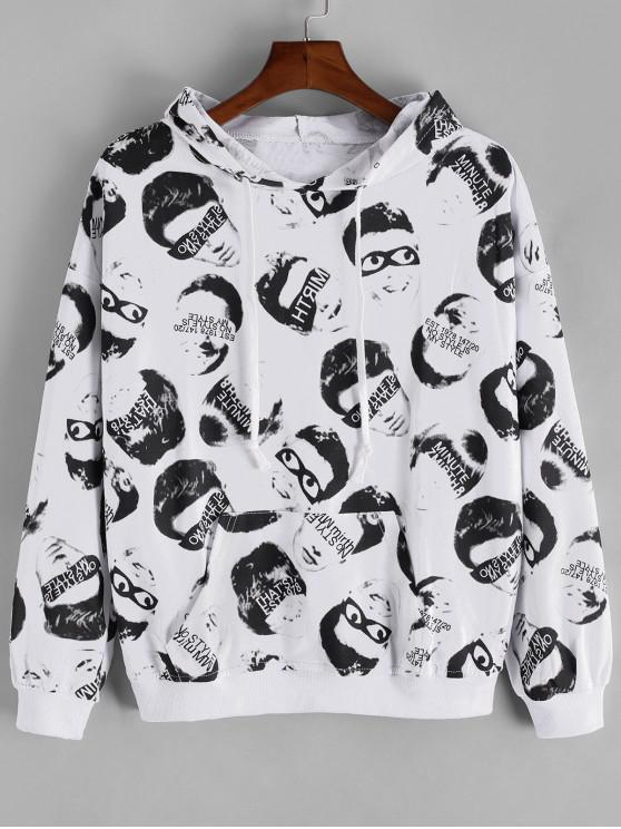 ladies Letter Face Character Allover Drop Shoulder Hoodie - WHITE L