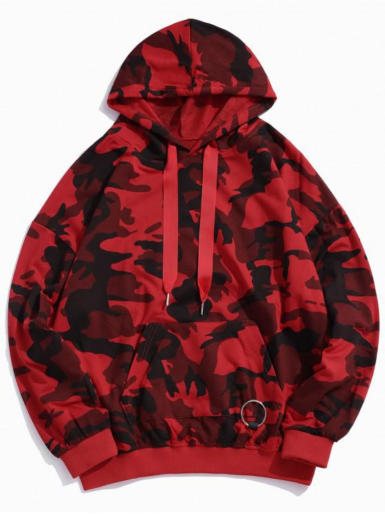 outfits Camo Print Pouch Pocket Drop Shoulder Hoodie - RED 2XL