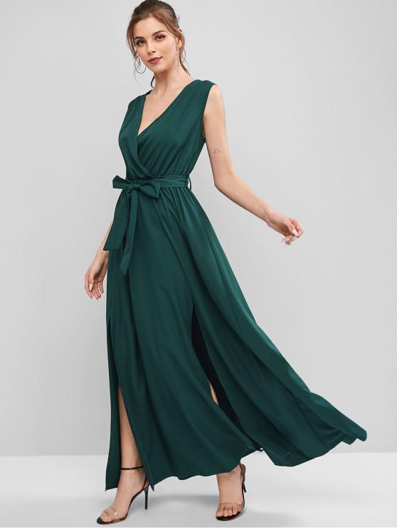 冥衣投身縫束帶長晚禮服 - 中等海綠色 S