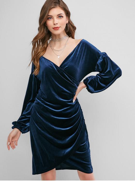 Robe MoulanteSuperposéeen Velours à Manches Lanterne - Bleu profond XL