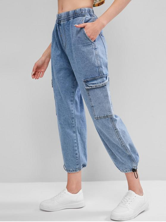 shops High Waisted Flap Pockets Cargo Jogger Jeans - BLUE M