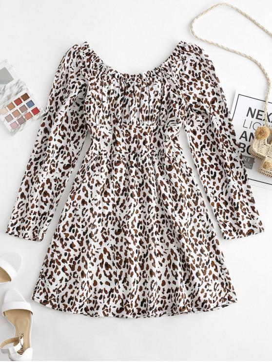 online Leopard Print Scoop Neck Flare Dress - MULTI-A L