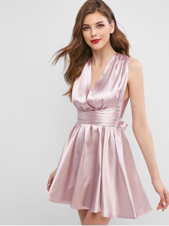緞冥衣交叉裹領帶服飾 - 粉紅玫瑰 M