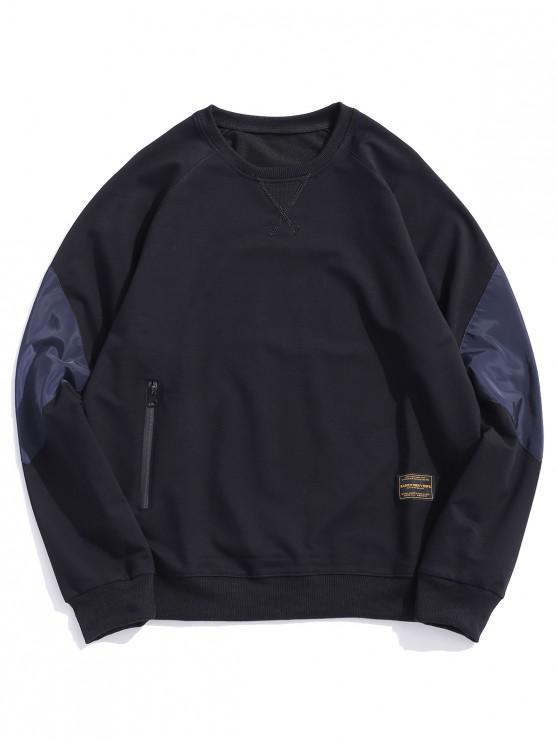 hot Colorblock Patchwork Raglan Sleeve Sweatshirt - BLACK S
