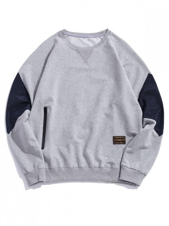 outfit Colorblock Patchwork Raglan Sleeve Sweatshirt - GRAY L