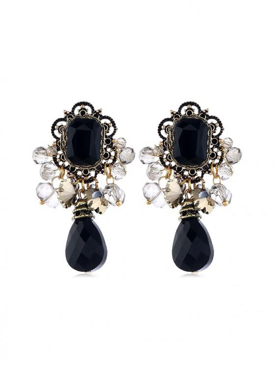 trendy Retro Hollow Geometric Faux Crystal Beads Earrings - BLACK