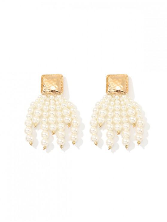 chic Faux Pearl Tassel Square Earrings - WHITE