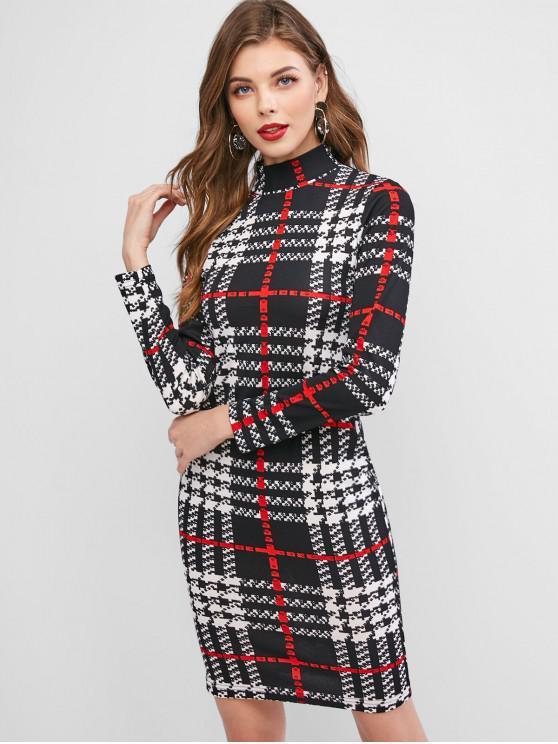 fashion ZAFUL Plaid High Neck Long Sleeve Bodycon Dress - MULTI-A L