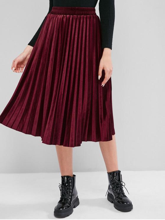 new Velvet Pleated A Line Midi Skirt - RED WINE M