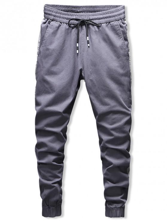 womens Contrast Trim Drawstring Jogger Pants - CARBON GRAY L