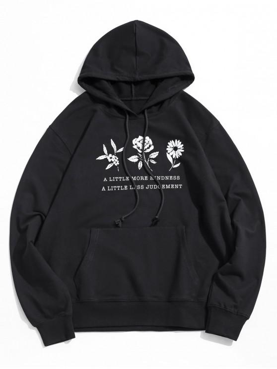 women Floral Graphic Pouch Pocket Drawstring Hoodie - BLACK S