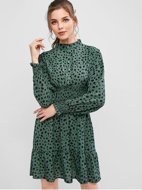 lady Dalmatian Print Smocked Half Button Flippy Hem Dress - GREEN L