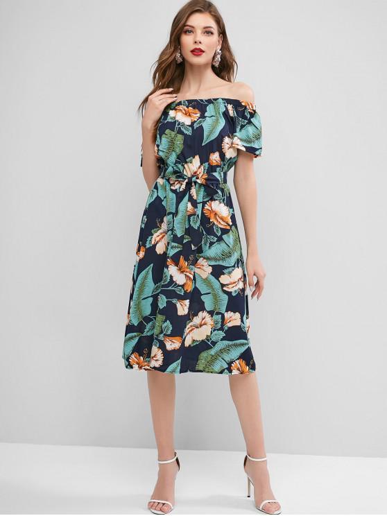 best Belted Floral Leaves Off Shoulder Dress - MULTI XL