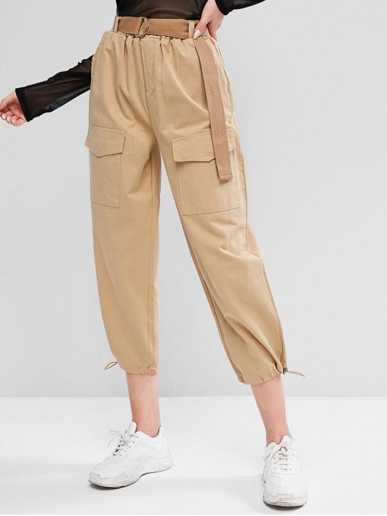 fashion Belted Toggle Hem Cargo Pants - LIGHT KHAKI XL