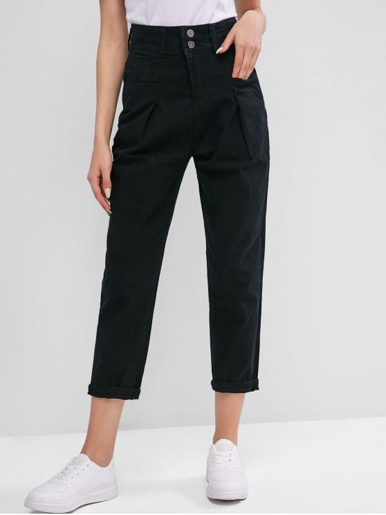 latest High Waisted Pocket Zipper Jeans - BLACK L