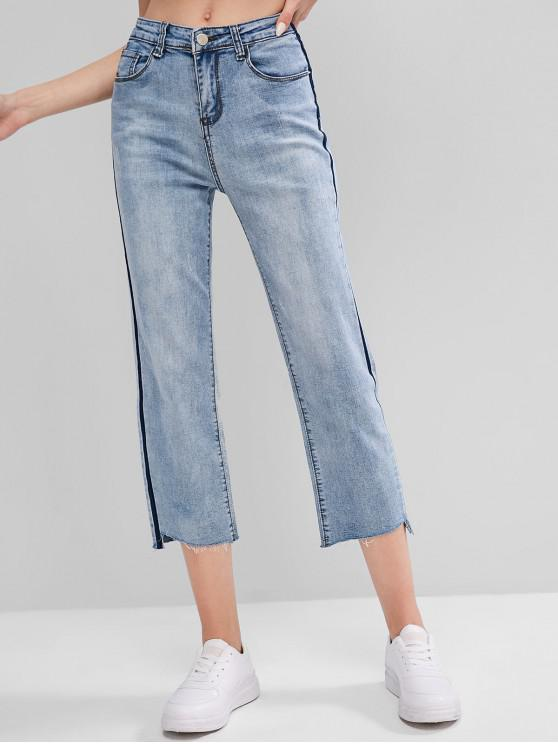 trendy Colorblock Raw Hem Zipper Fly Jeans - BLUE L