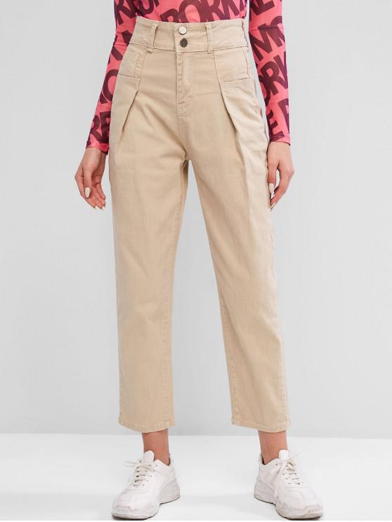 hot High Waisted Pocket Zipper Jeans - LIGHT KHAKI L