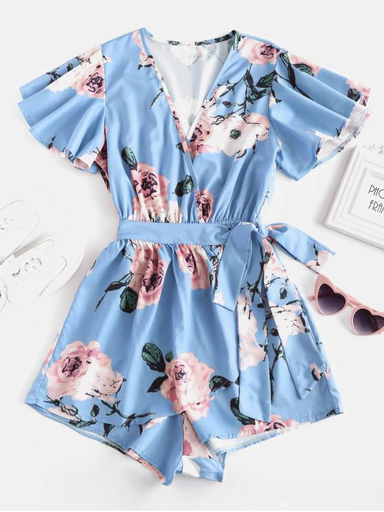 shop Plunging Neck Floral Print Layered Romper - BLUE M