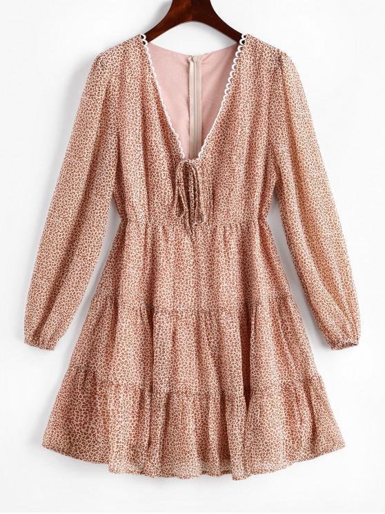 online Long Sleeve Picot Trim Leopard Lace Up Dress - MULTI-A S