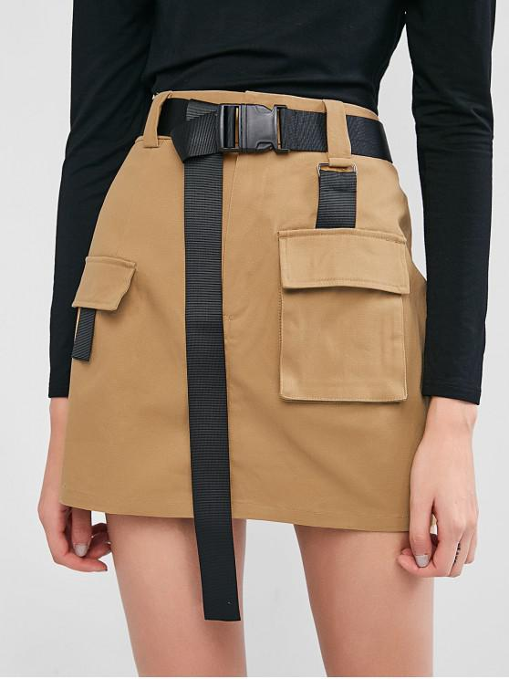 outfit ZAFUL Buckled Belt Utility Skirt - TAN XL