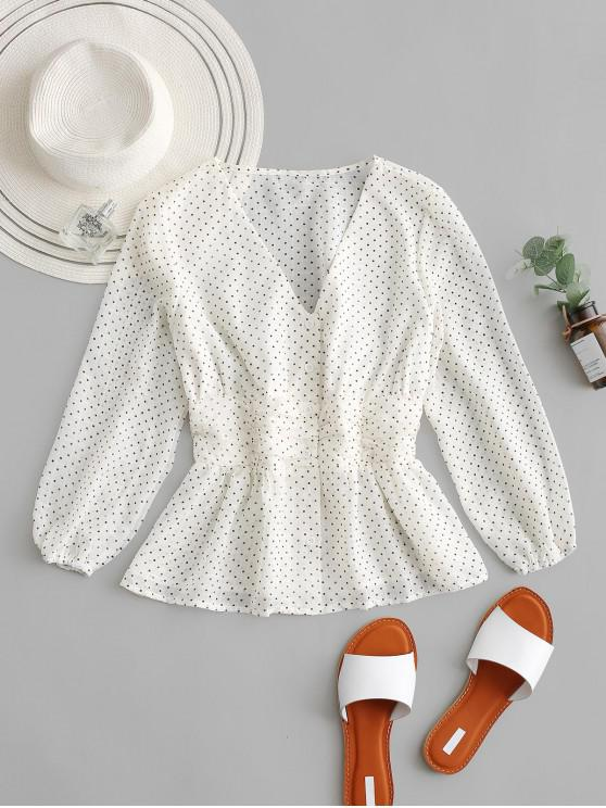 trendy Polka Dot Ruched Buttoned Blouse - WARM WHITE L
