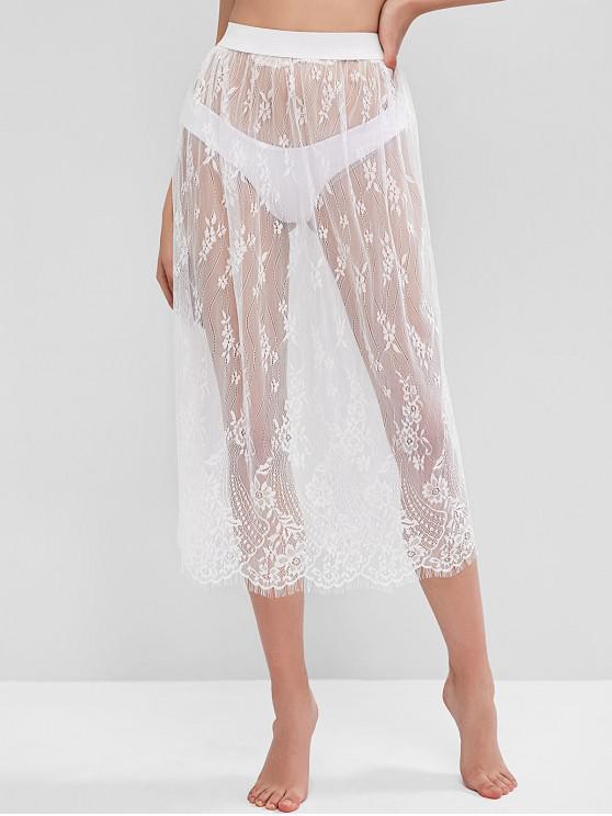 womens Sheer Eyelash Lace Skirt - WHITE ONE SIZE