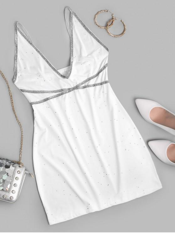 lady Sparkle Patched Bodycon Cami Dress - WHITE M