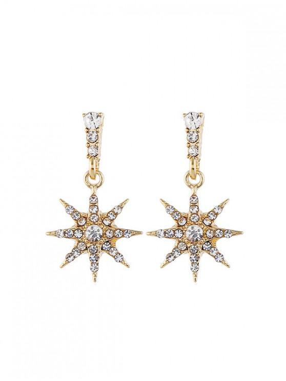 Rhinestone del diseño de la estrella Pendientes de Stud - Oro