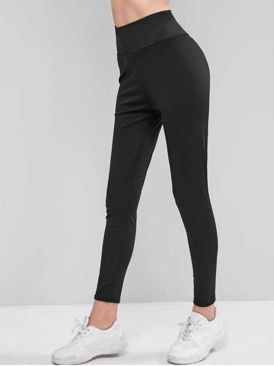 shop Wide Waistband High Waisted Gym Leggings - BLACK M