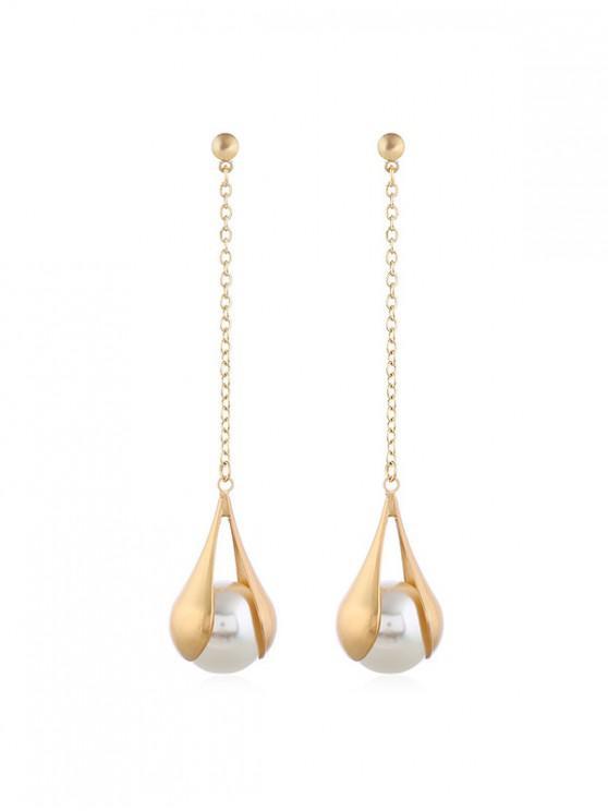 Cuelga los pendientes de perlas de imitación de cadena larga - Blanco