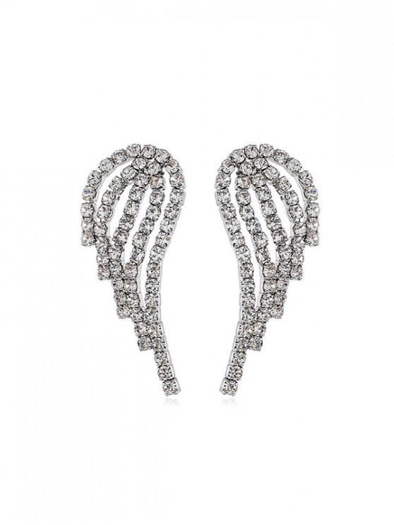 Diamantes de imitación Pendientes Alas - Plata