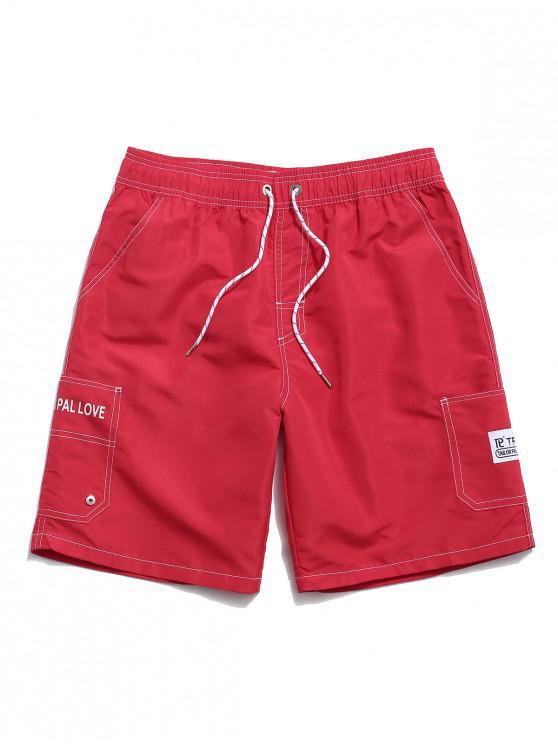 Pantaloncini Casuali a Vita Elastica con Stampa Lettere - Rosso 3XL