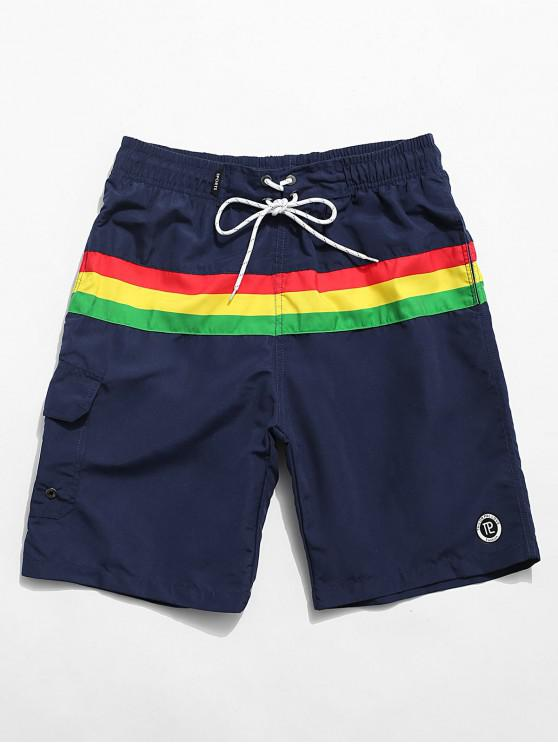Color Blocking Drawstring Casual Shorts - ازرق غامق M