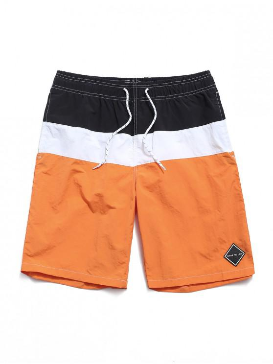 Color Spliced Elastic Waist Casual Shorts - البرتقالي XL