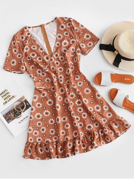 fashion ZAFUL V Neck Floral Flounced Hem Mini Dress - RUST L