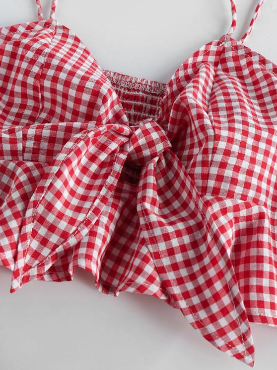 ZAFUL Gingham Smocked Tied Peplum Camisole - Red Xl