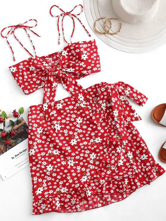 ladies ZAFUL Two Piece Ditsy Floral Tie Front Wrap Skirt Set - LAVA RED L
