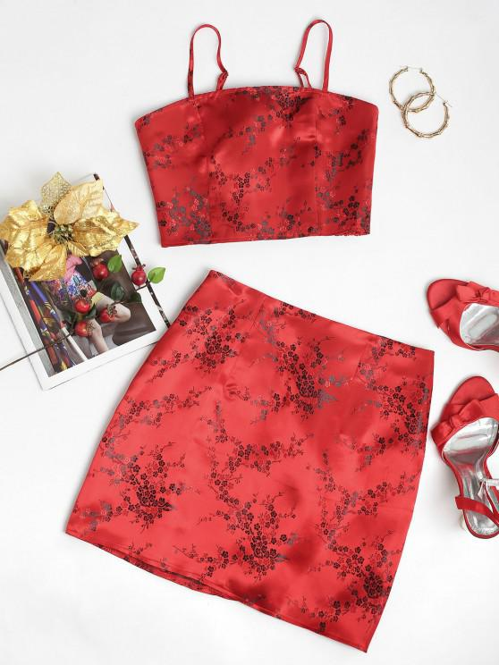 best ZAFUL Floral Smocked Jacquard Two Piece Suit - RUBY RED S
