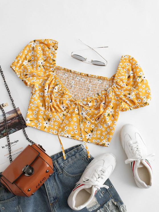ZAFUL Smocked Back Tie Collar Ditsy Floral Milkmaid Blouse - الأصفر XL