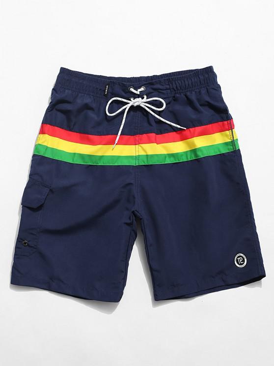 hot Color Blocking Drawstring Casual Shorts - DEEP BLUE M