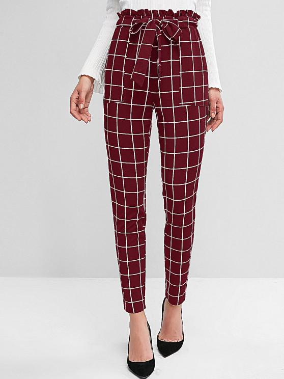 outfit ZAFUL Plaid Pocket Pencil Paperbag Pants - RED WINE L