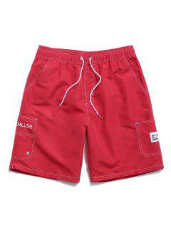 Letter Print Elastic Waist Casual Shorts - Red M