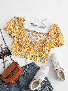 ZAFUL Blusa Floral De Tie-dye Con Cuello En V - Amarillo Xl