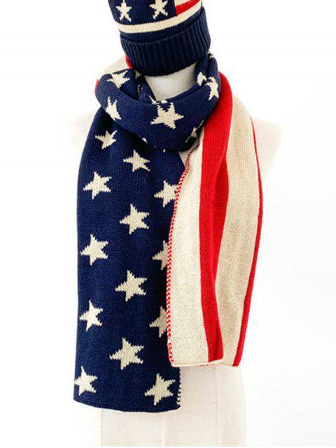 Принт американского флага Вязаный Длинный Шарф - Темный-шифер синий  Mobile