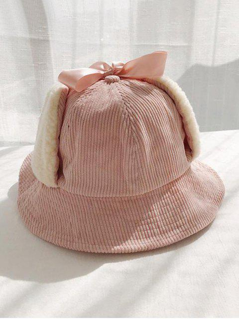 fancy Corduroy Fleece Earmuffs Bucket Hat - PINK  Mobile