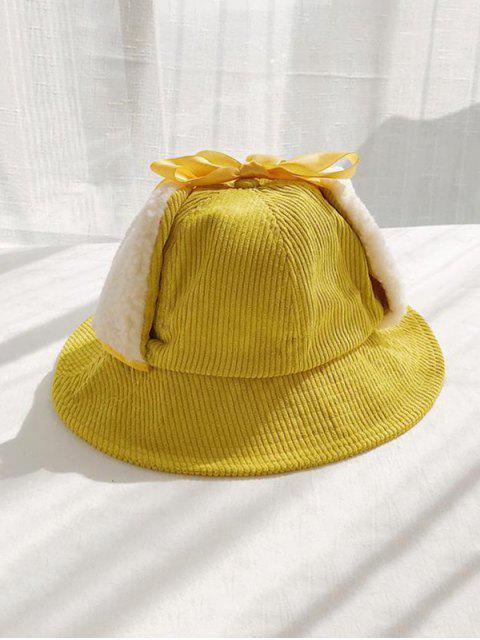 unique Corduroy Fleece Earmuffs Bucket Hat - YELLOW  Mobile